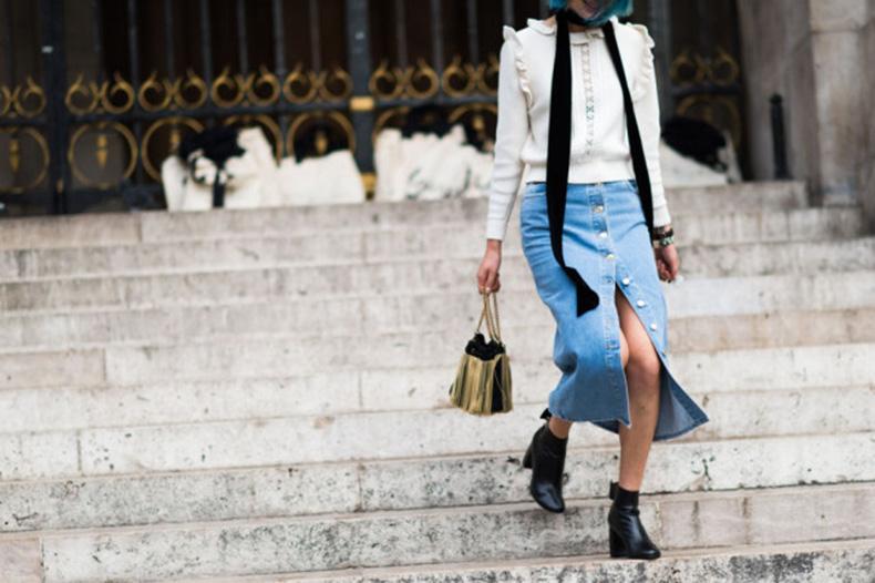 paris-fashion-week-street-style-elle-ruffles-button-front-denim-skirt-skinny-scarf-victorian-top-booties-640x426