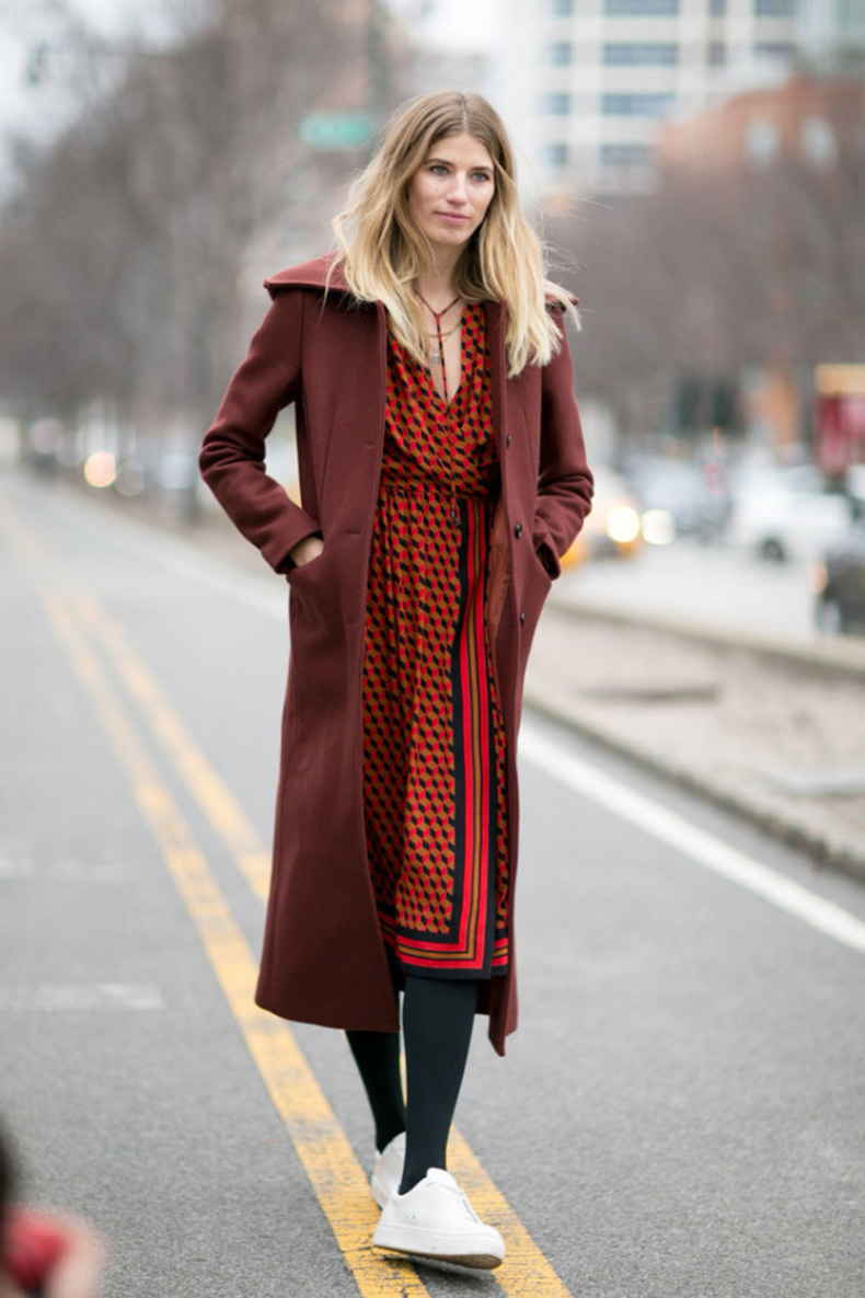 printed-dress-midi-dress-work-outfit-tights-white-sneakers-sneakers-and-dresses-burgundy-coat-nyfw-street-style-ps-640x960