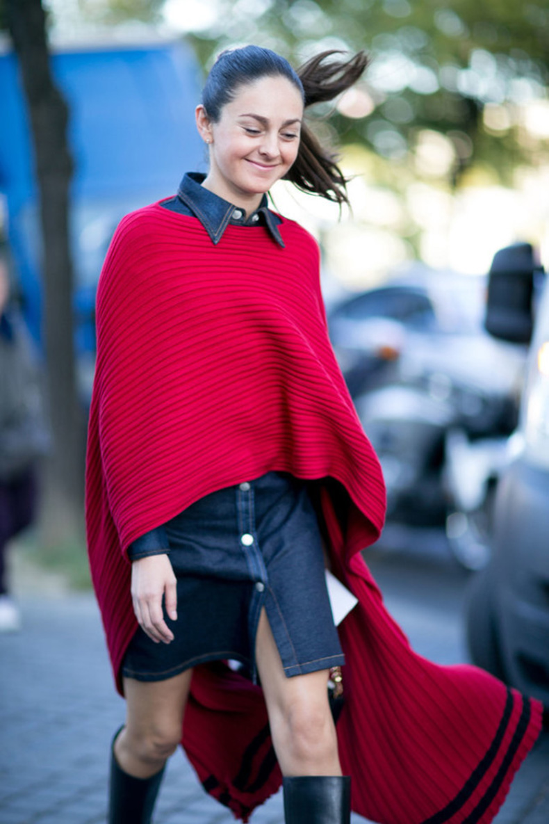 red-poncho-denim-shirt-dress-knee-boots-fall-outftis-poncho-cape-Paris-Fashion-Week-Day-1-640x960