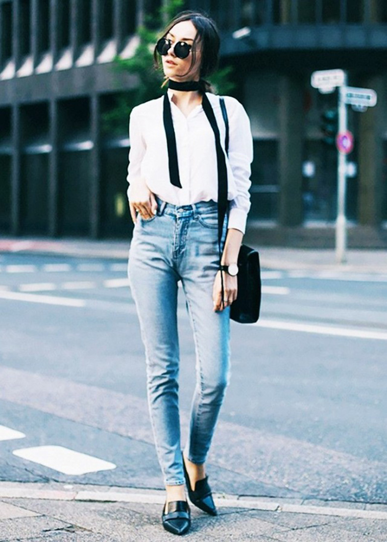 skinny-scarf-skinny-jeans-button-up-shirt-oxford-shirt-black-loafers-pointy-toe-loafers-weekend-outfit-date-night-night-out-via-the-fashion-cuisine