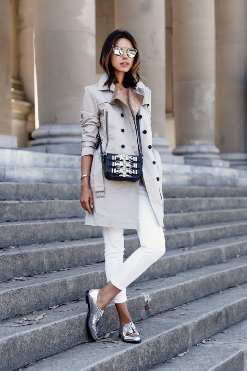 2.-trench-coat-with-white-denim-jeans-and-loafers