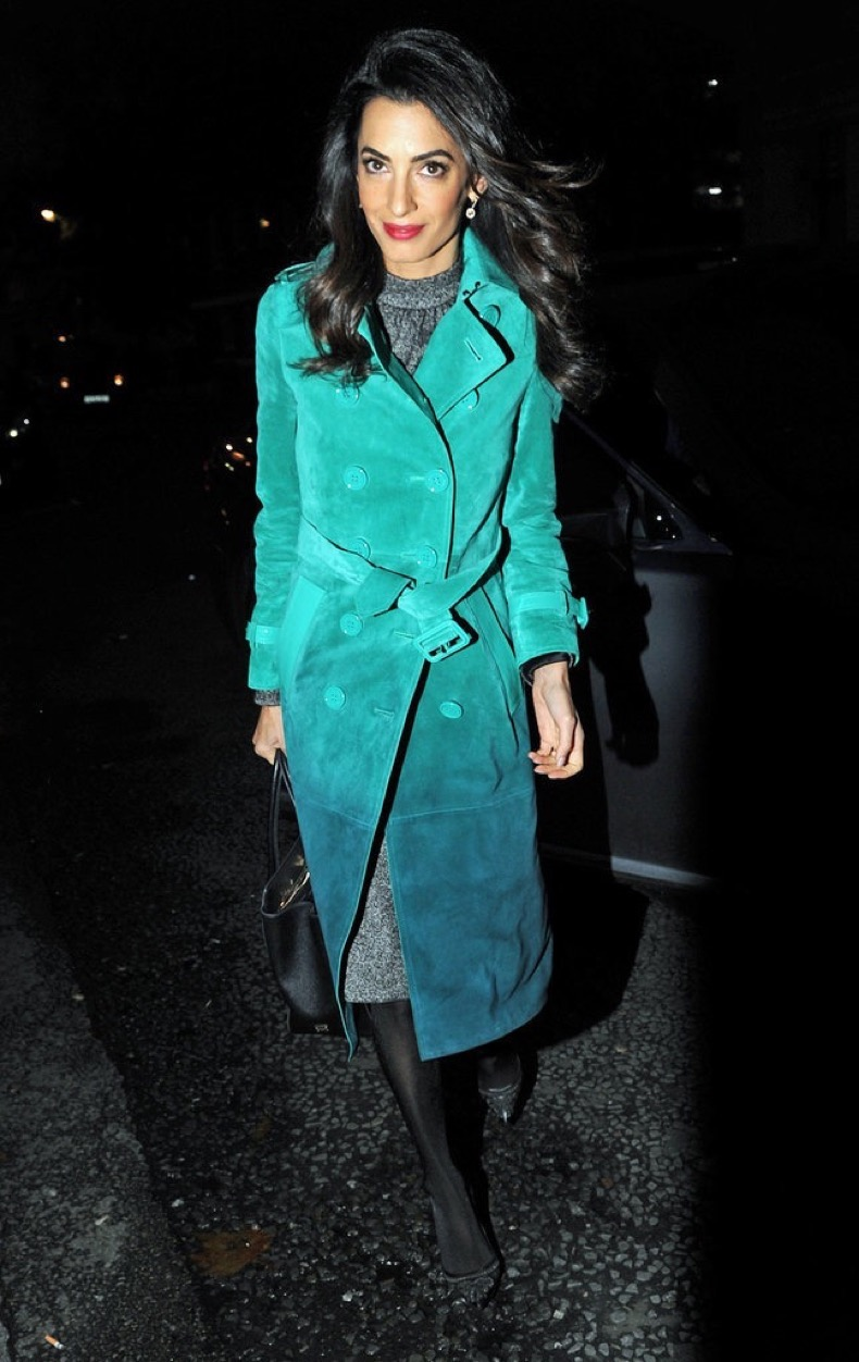 Amal-Clooney-Wearing-Teal-Burberry-Coat