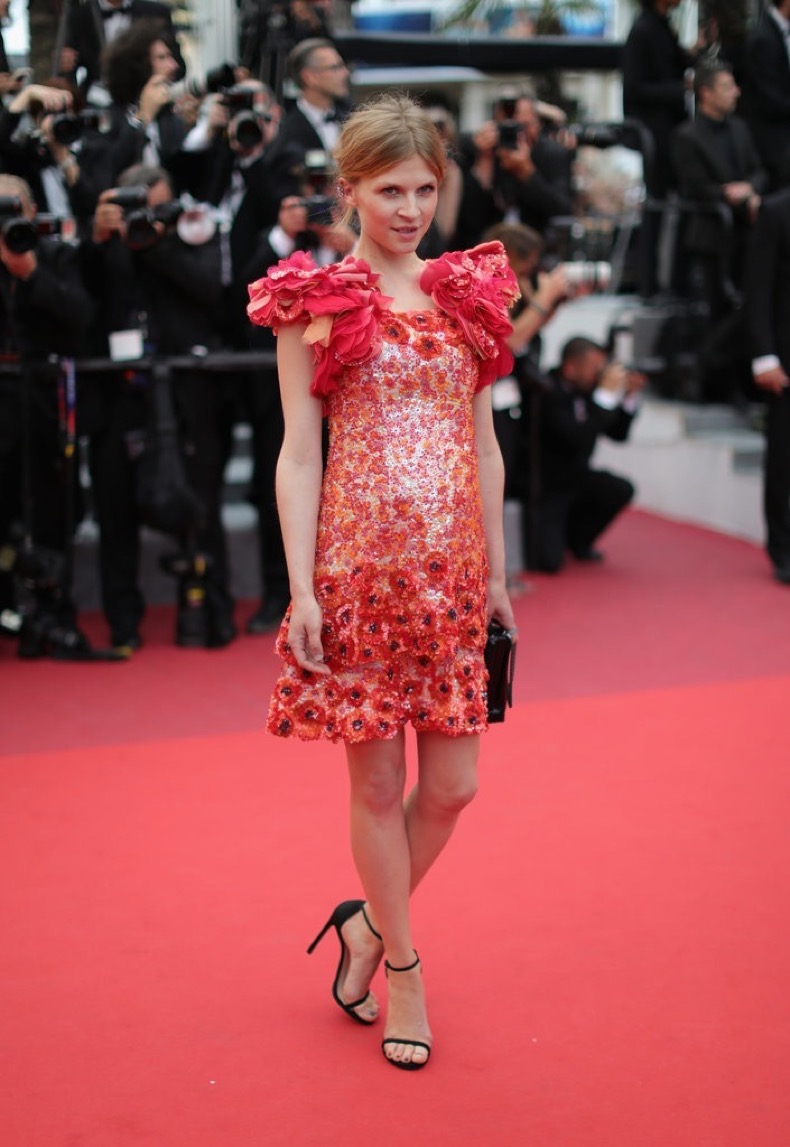Clémence-Poésy-wore-poppy-floral-Chanel-minidress-Cannes