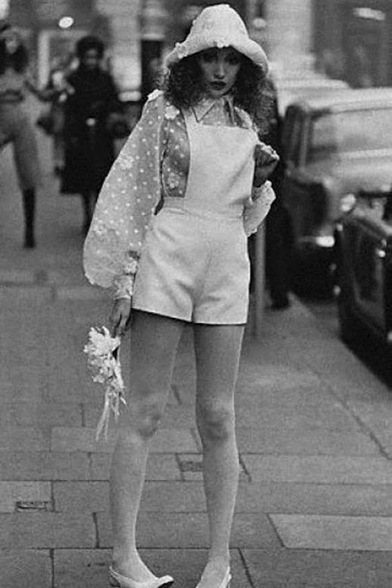Le-Fashion-Blog-1970s-70s-Street-Style-Vintage-Photos-Overalls-Romper-Sheer-Print-Polka-Dot-Blouse-Via-Tres-Blase