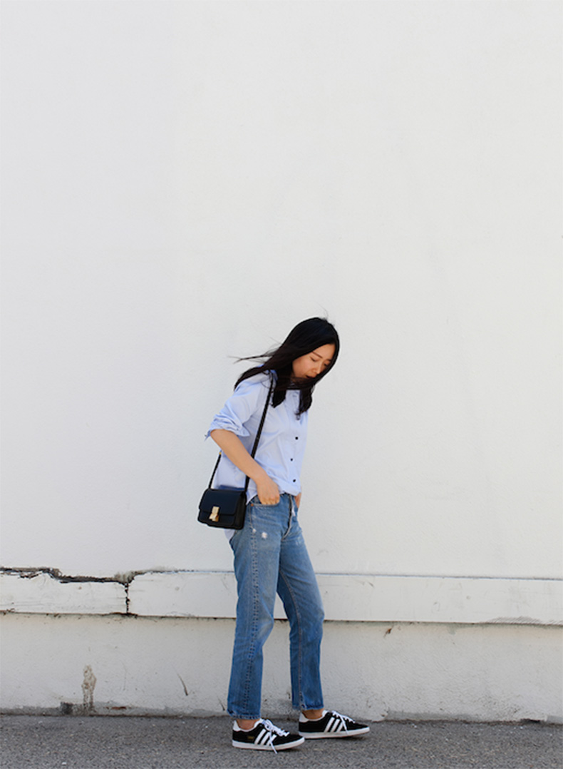 Le-Fashion-Blog-25-Ways-To-Wear-Adidas-Sneakers-Button-Down-Skirt-Boyfriend-Jeans-Black-With-White-Stripes-Via-Andy-Heart