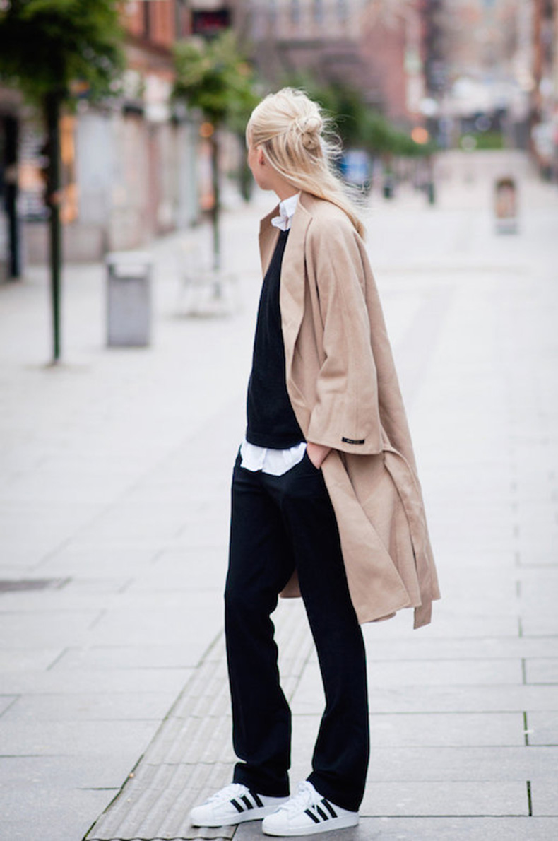 Le-Fashion-Blog-25-Ways-To-Wear-Adidas-Sneakers-Camel-Trench-Coat-Pants-Superstar-Via-Ellen-Claesson
