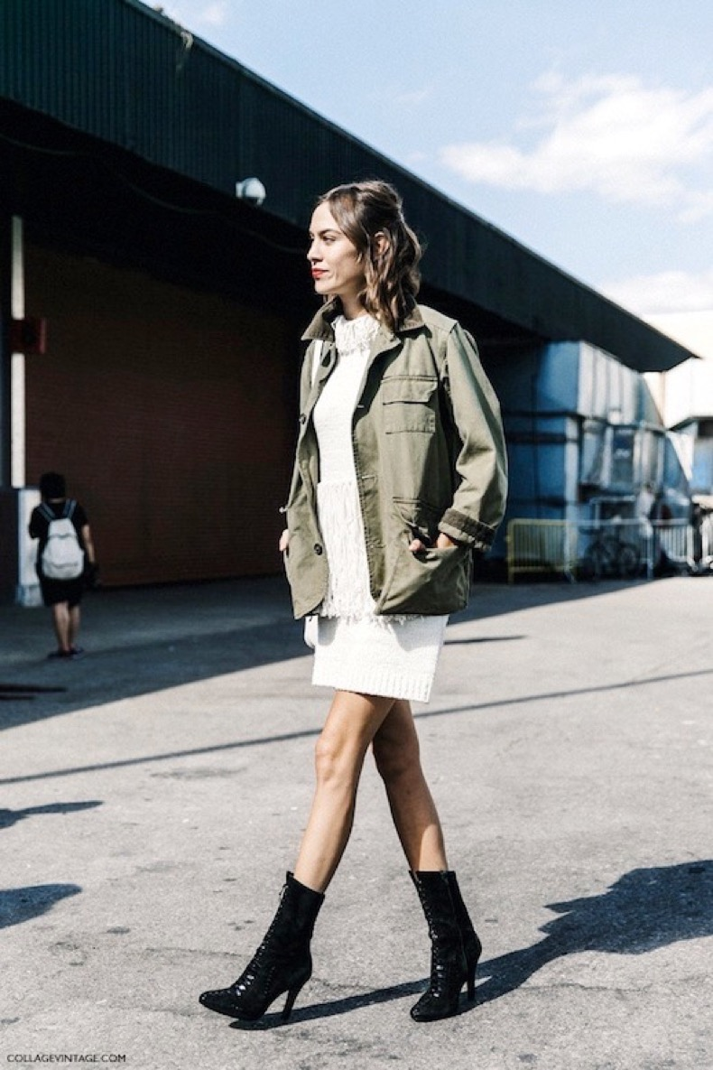 Le-Fashion-Blog-Alexa-Chung-Street-Style-Fringed-Sweater-Dress-Military-Jacket-Lace-Up-Pointed-Toe-Boots-Via-Collage-Vintage