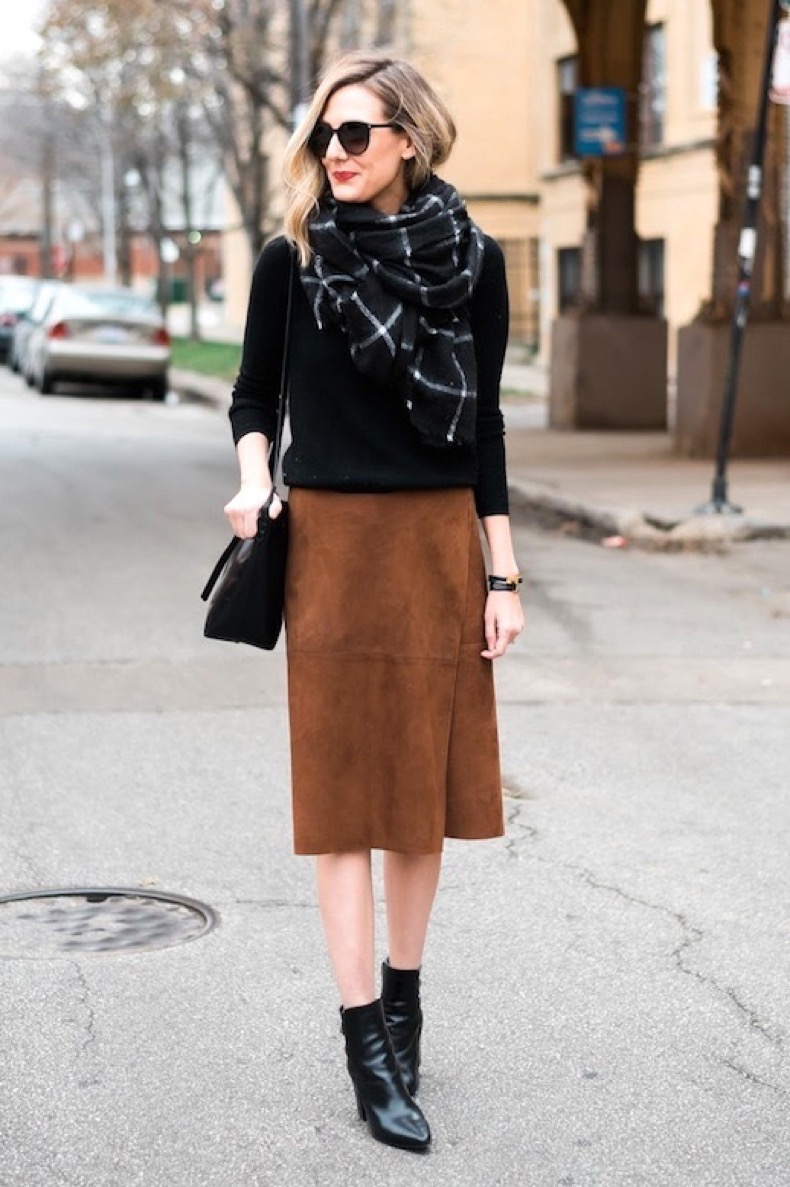 Le-Fashion-Blog-Blogger-Style-Black-Sweater-Grid-Print-Scarf-Brown-Suede-Wrap-Skirt-Leather-Point-Toe-Ankle-Boots-Via-See-Anna-Jane