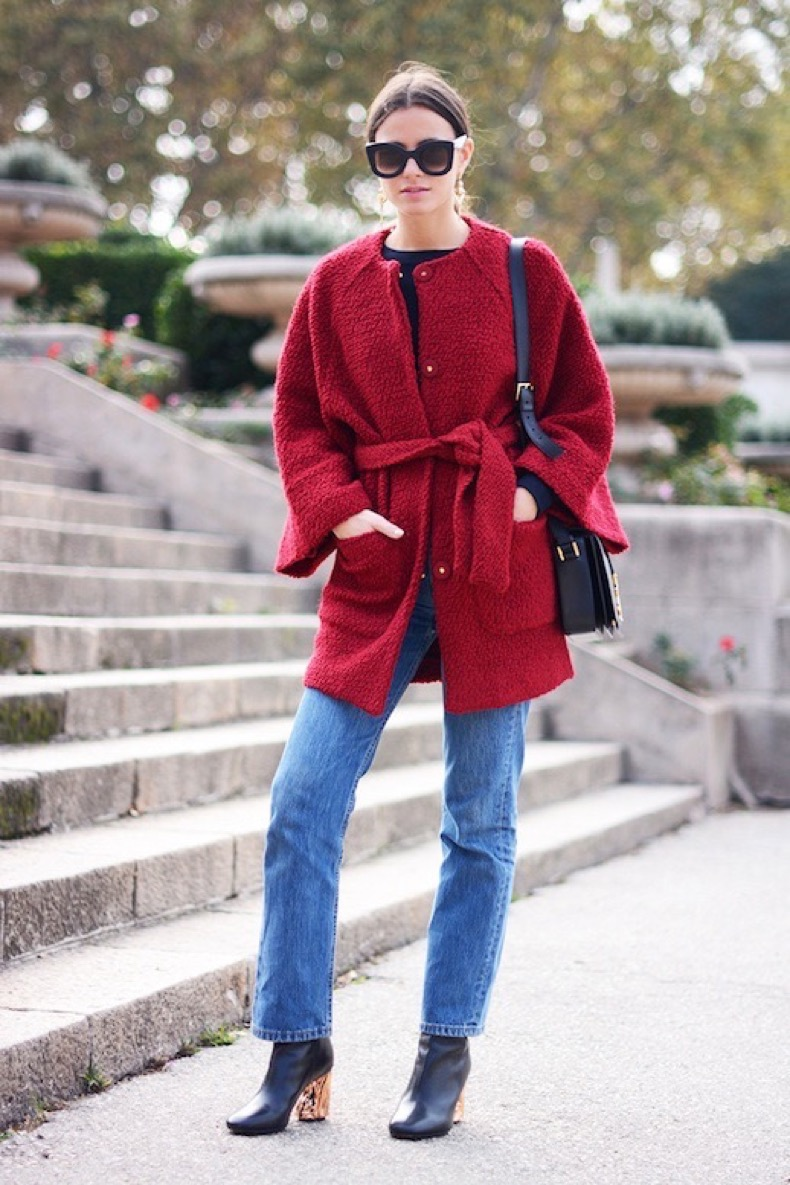 Le-Fashion-Blog-Fall-Cat-Eye-Celine-Sunglasses-Belted-Red-Coat-Ysl-Crossbody-Boyfriend-Jeans-Rose-Gold-Heel-Acne-Boots-Via-Fashionvibe