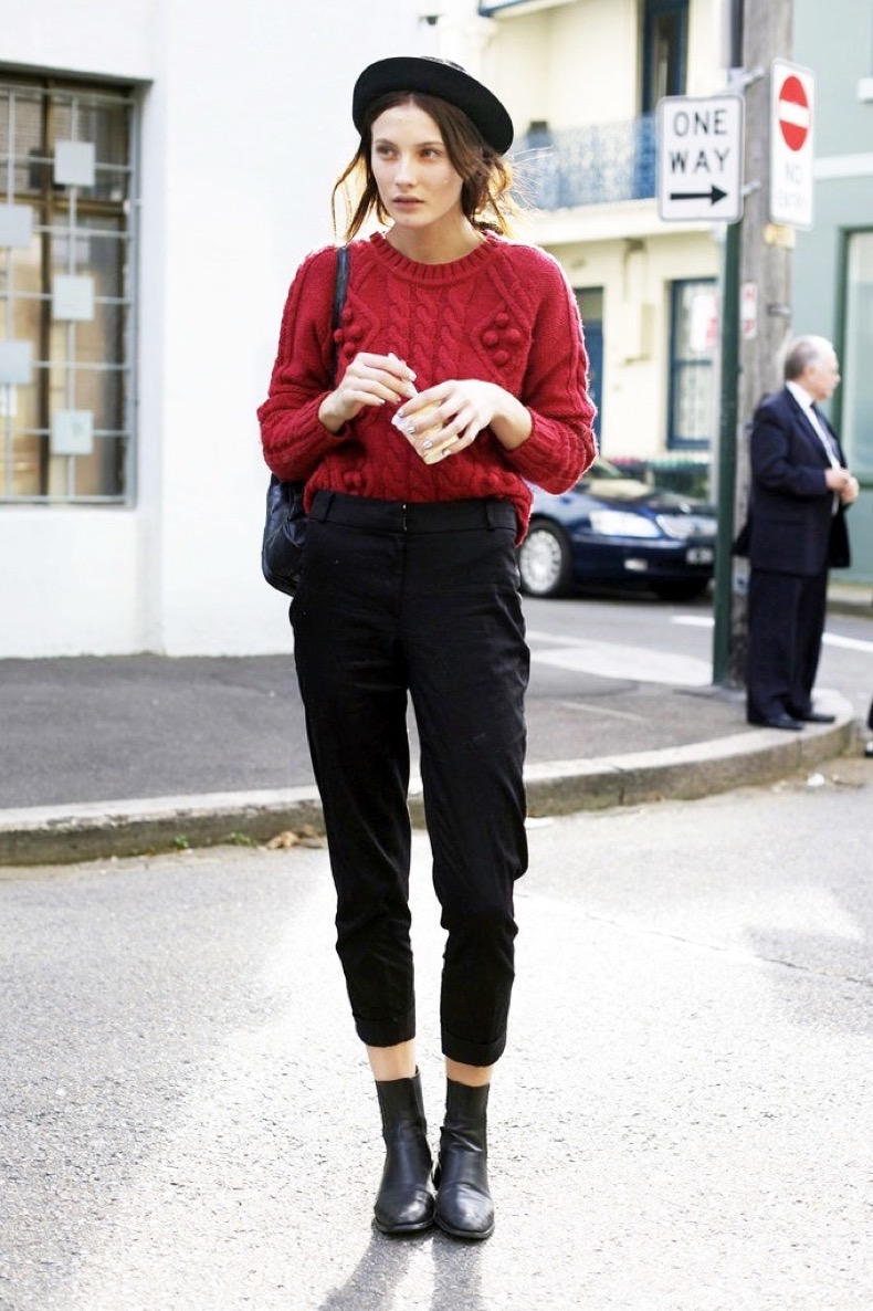 Le-Fashion-Blog-Fall-Winter-Model-Street-Style-Black-Pork-Pie-Hat-Chunky-Knit-Red-Sweater-High-Waisted-Crop-Pants-Ankle-Boots-Olivia-Thornton-Parisian-Inspired-Via-Street-Peeper