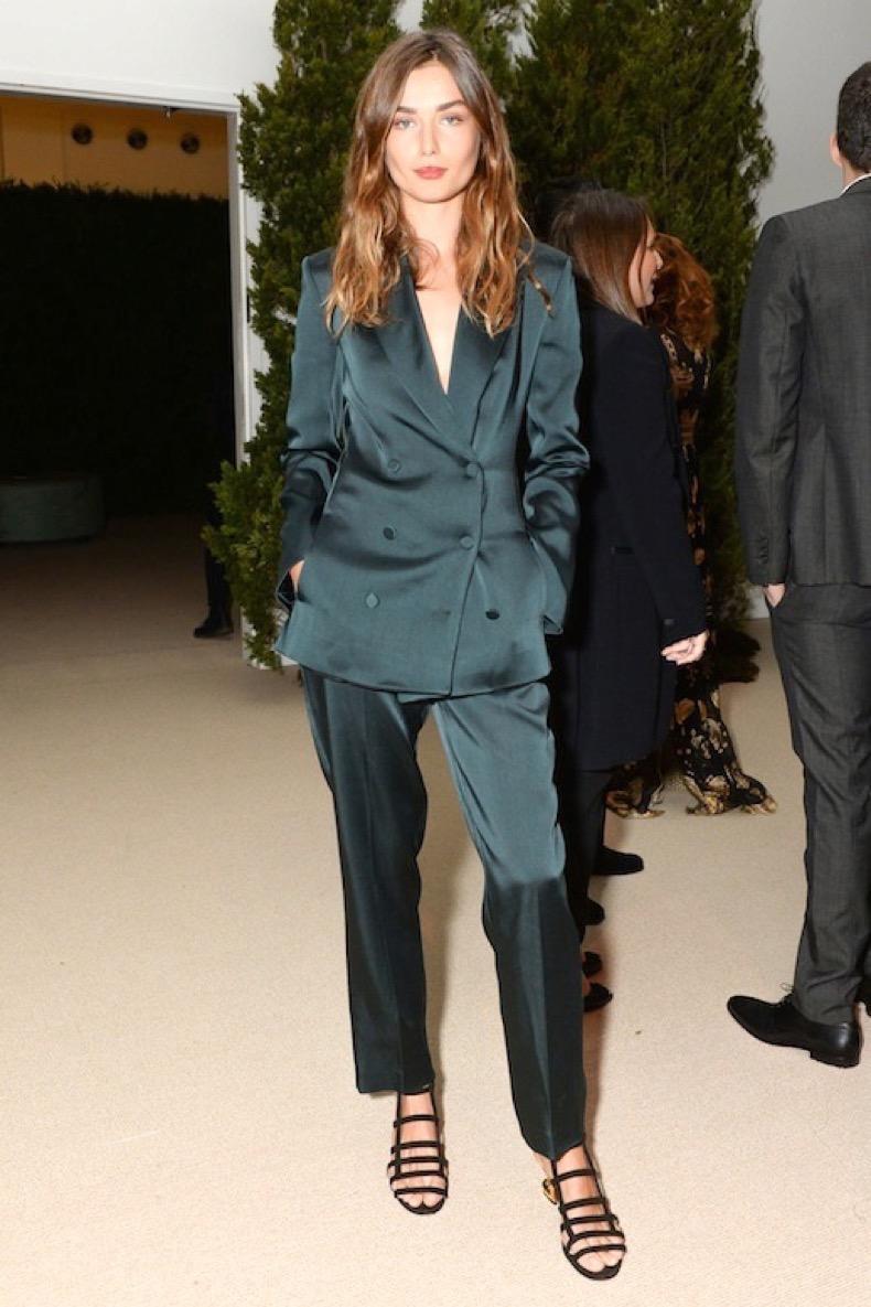 Le-Fashion-Blog-Model-Style-Andreea-Diaconu-Dark-Green-Satin-Suit-Black-Low-Strappy-Sandals-Via-Harpers-Bazaar