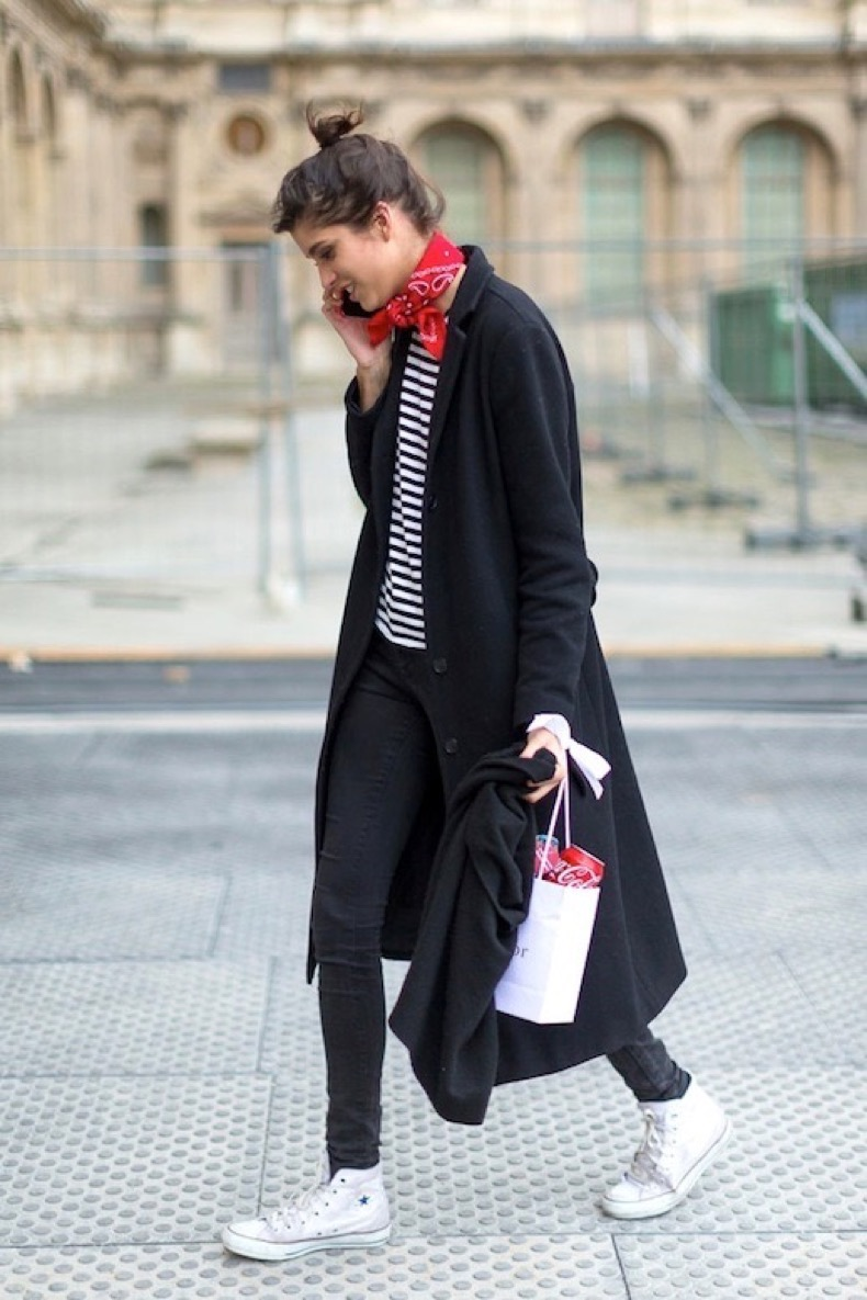 Le-Fashion-Blog-Street-Style-Pfw-Red-Bandana-Scarf-Long-Black-Coat-Striped-Tee-Skinny-Jeans-Hi-Top-Converse-Sneakers-Via-Harpers-Bazaar
