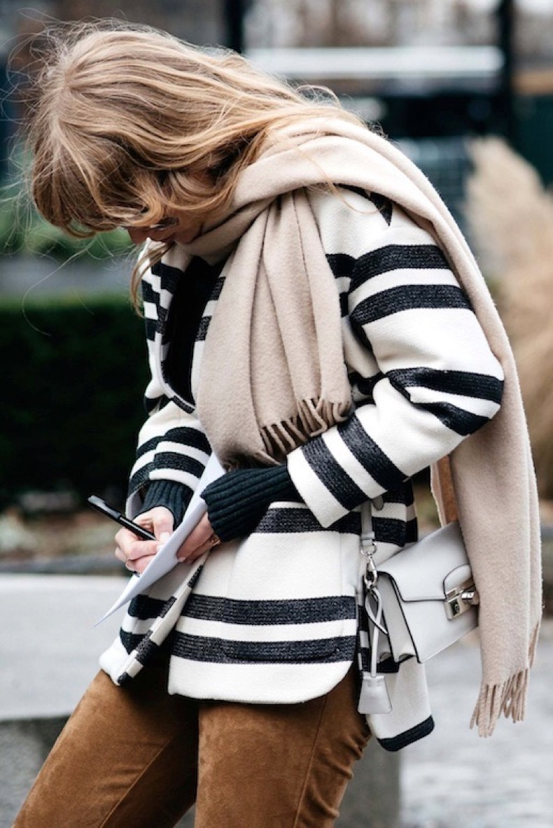 Le-Fashion-Blog-Street-Style-Stockholm-Fashion-Week-Layered-Look-Nude-Scarf-Black-And-White-Striped-Coat-Brown-Suede-Pants-Via-Vogue
