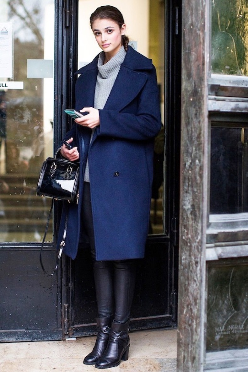 Le-Fashion-Blog-Winter-Street-Style-Taylor-Marie-Hill-Long-Blue-Coat-Funnel-Neck-Sweater-Waxed-Skinny-Jeans-Black-Leather-Ankle-Boots-Via-Vogue