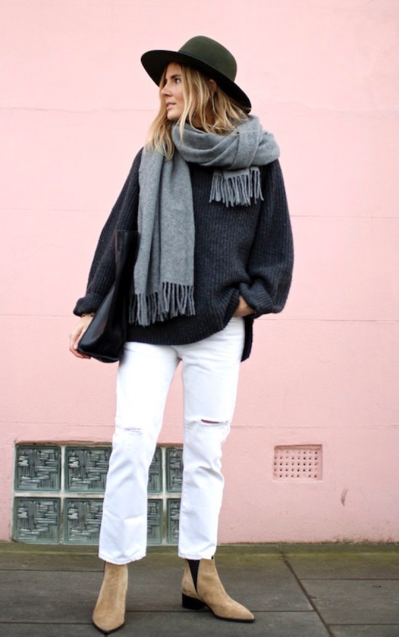 Le-Fashion-Blog-Winter-Style-Olive-Fedora-Oversized-Scarf-Slouchy-Sweater-White-Distressed-Denim-Acne-Studios-Ankle-Boots-Via-Fashion-Me-Now_1
