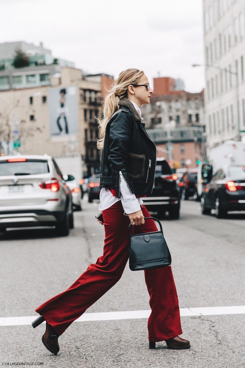 NYFW-New_York_Fashion_Week-Fall_Winter-16-Street_Style-Red_Trousers-Biker_Jacket-Rounded_Sunnies-