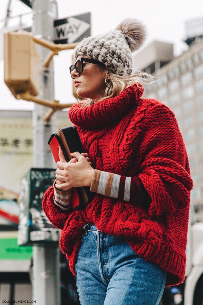 NYFW-New_York_Fashion_Week-Fall_Winter-17-Street_Style-Camille_Charriere-Vetements_Jeans-Red_Sweater-Beanie-Snake_Boots-2