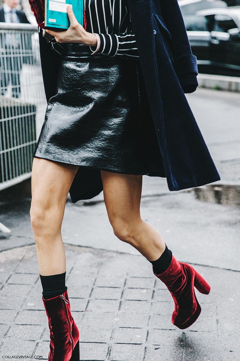 PFW-Paris_Fashion_Week_Fall_2016-Street_Style-Collage_Vintage-Miu_Miu-STRIPED_SHIRT-Velvet_boots-2