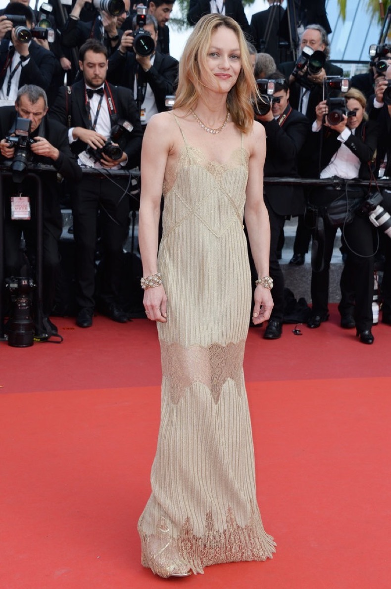 Vanessa-Paradis-slipped-slinky-gown-Unknown-Girl