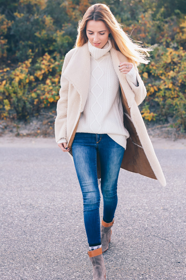 Velvet-Faux-Shearling-Jacket-Talbots-Cable-Turtleneck-Sweater-Prosecco-and-Plaid
