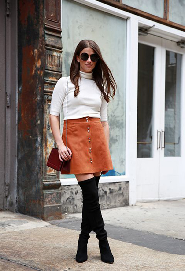 amanda-weiner-editor-style-style-profiles-short-sleeve-turtleneck-over-the-knee-bots-button-front-suede-skirt-burnt-orangeintermix
