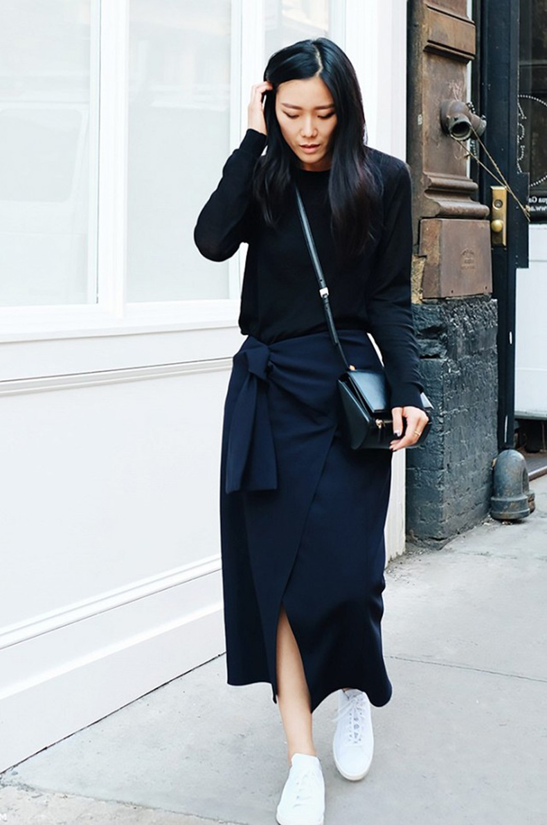 black-and-navy-white-tennis-shoes-navy-wrap-midi-skirt-wrap-skirt-black-crewneck-sweater-sneakkers-and-skirts-via-andy-heart