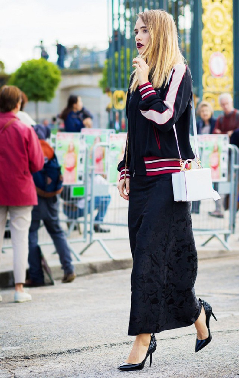 black-suede-maxi-skirt-black-pumps-baseball-jacket-white-purse-black-white-red-style-du-monde1