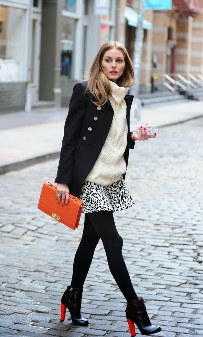 easter-olivia-palermo-animal-prints-printed-skirt-turtleneck-sweater-tights-black-booties-via-pinterest