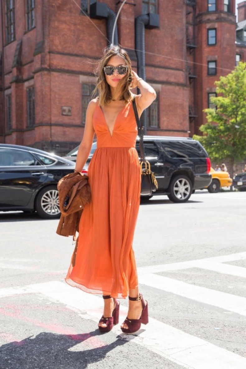 fall-colors-suede-jacket-orange-dress-platforms-platform-sandals-suede-night-to-day-dressing-evening-to-day-nyfw-street-style-via-cosmo