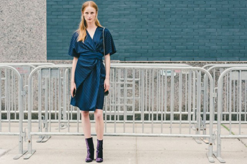 fall-dresses-pinstripes-kimono-sleeves-wrap-dress-navy-purple-velvet-booties-mod-booties-ankle-boots-nyfw-fall-outfits-via-racked-640x427