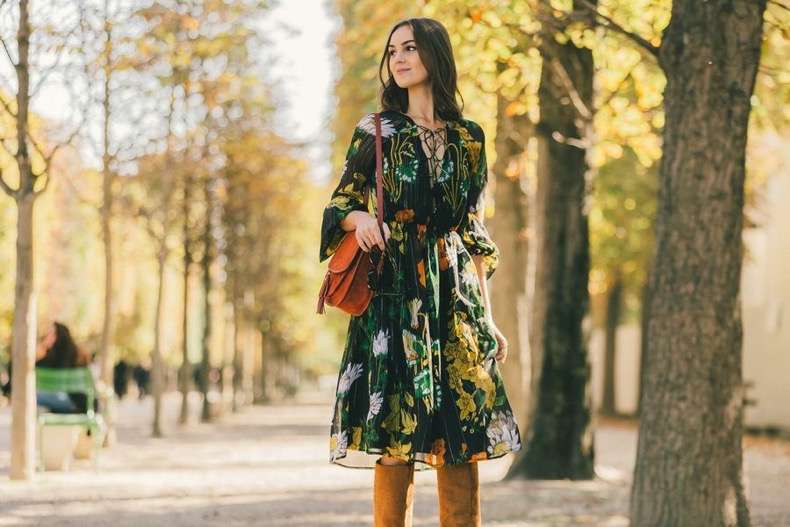 fall-florals-boho-fall-dress-burnt-orange-bag-knee-high-tan-suede-boots-boho-dress-prints-lace-front-neckline-top-lace-up-paris-fashion-week-street-style-fall-fashion-racked