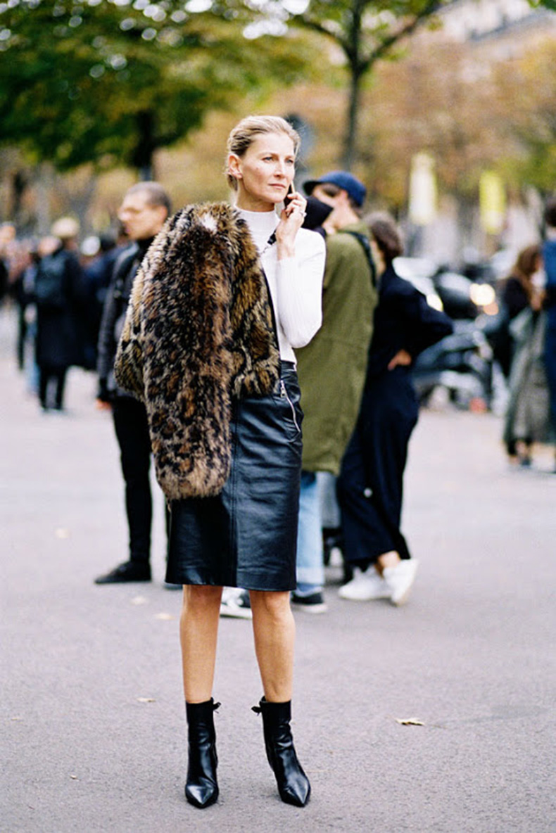 fall-work-outfit-black-leather-pencil-skirt-white-turtleneck-sweater-blakc-and-whtie-ankle-booties-pointy-toe-booties-fur-jacket-bomber-jacket-via-vanessa-jackman-mockneck-funnel-neck