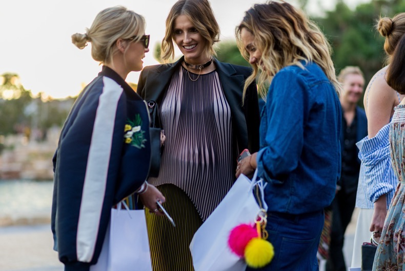 SYDNEY, AUSTRALIA - MAY 15: Nadia Fairfax, Kate Waterhouse and Pip Edwards outside Toni Maticevski at Mercedes-Benz Fashion Week Resort 17 Collections at Barangaroo on May 15, 2016 in Sydney, Australia. (Photo by Christian Vierig/WireImage)