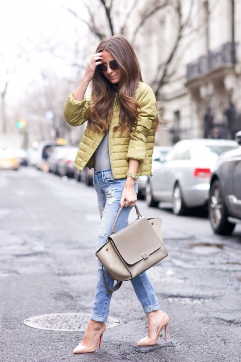 golden-green-puffer-bomber-jacket-streetstyle