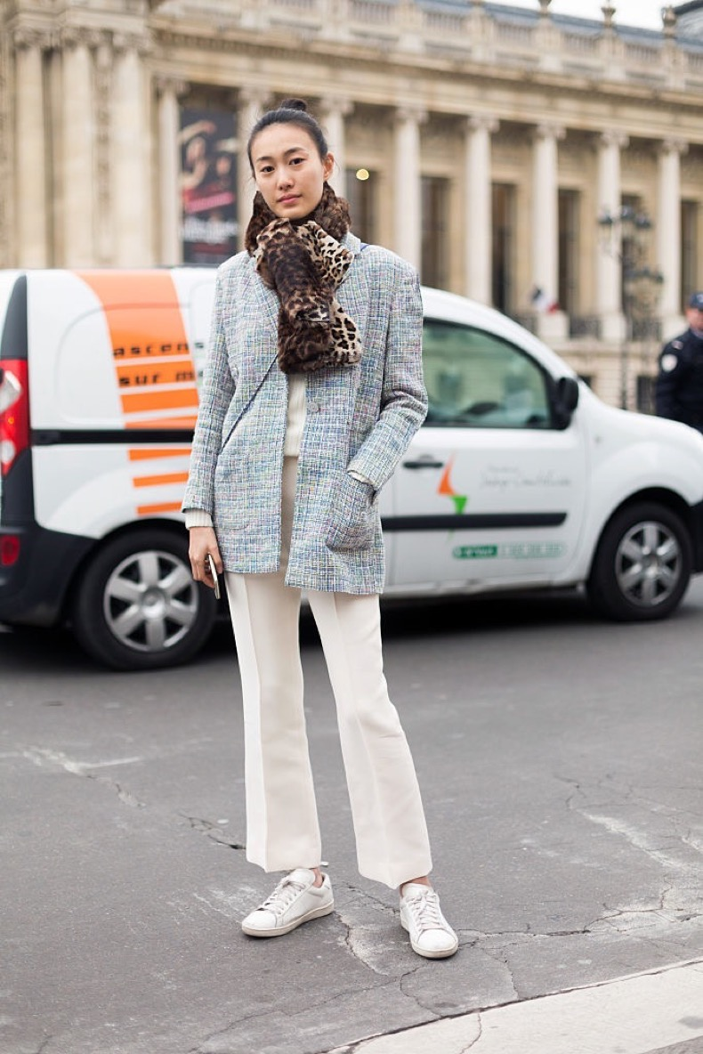 PARIS, FRANCE - JANUARY 27: Model Shu Pei Qin wears Chanel after the Chanel show on Day 3 of Paris Haute Couture Fashion Week Spring/Summer 2015 on January 27, 2015 in Paris, France. (Photo by Melodie Jeng/Getty Images)