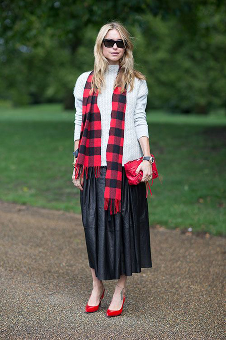 lumber-jack-plaid-red-checkered-scarf-red-plaid-red-clutch-bag-black-leather-midi-skirt-grey-turtleneck-sweater-sweaters-and-skirts-fall-red-pumps-via-harpersbazaar