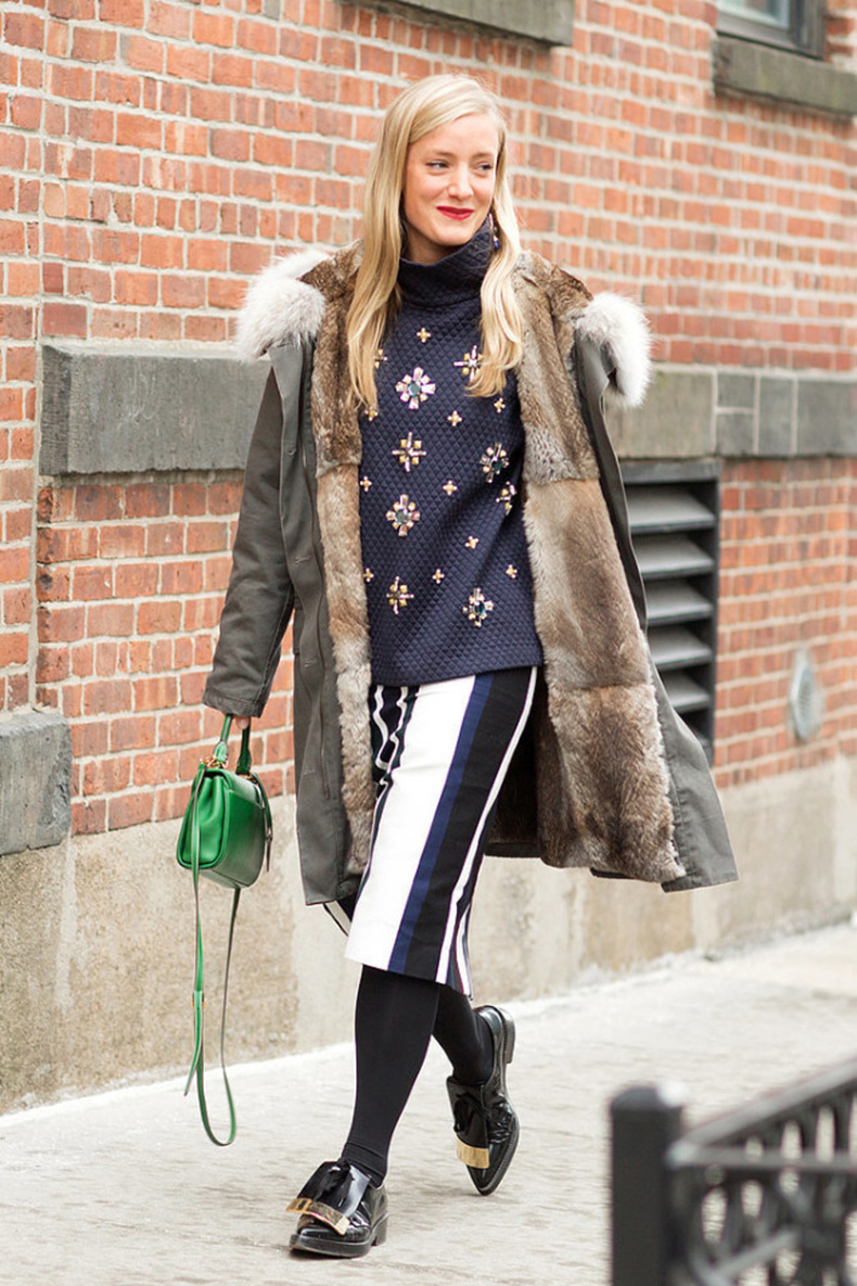 nyfw-winter-layers-freezing-popsugar-army-jacket-fur-striped-pencil-skirt-tights-turtleneck-jeweled-swatshirt-green-bag-shiny-oxfords-loafers-640x960