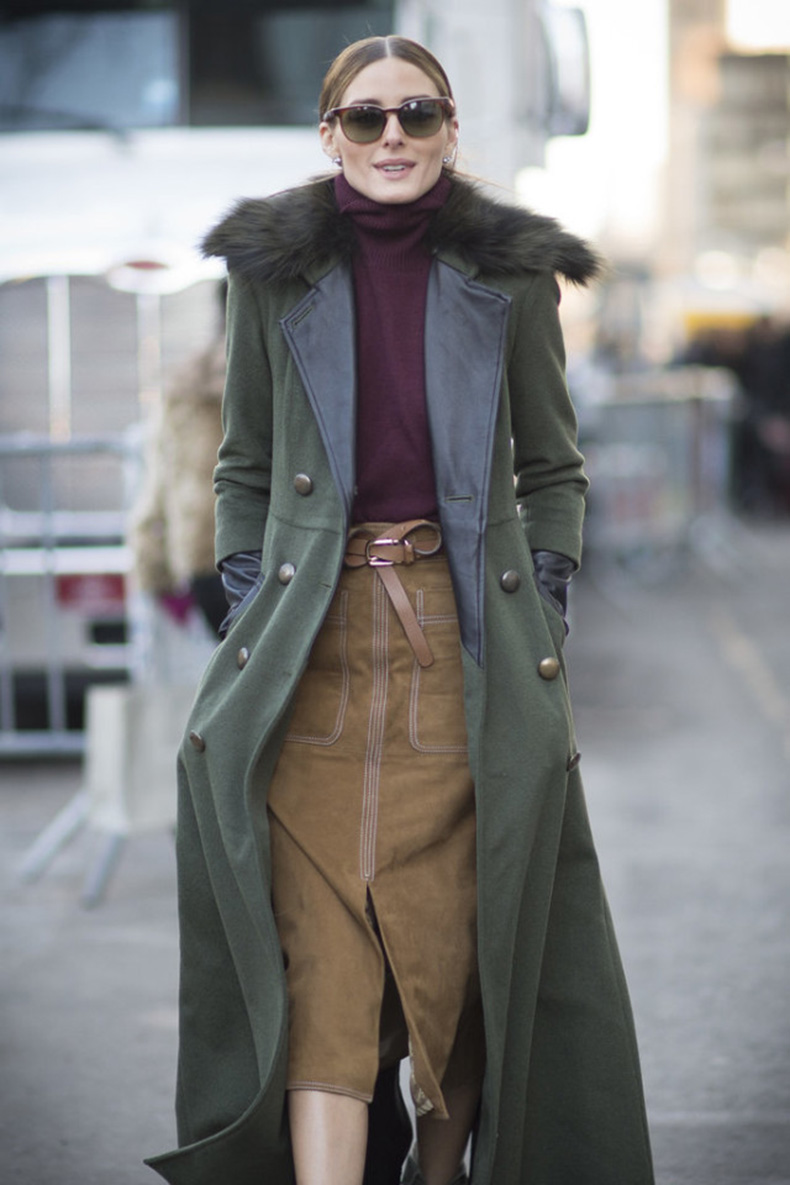 olivia-palermo-fall-outfit-army-green-jacket-mixed-materials-suede-skirt-belt-turtleneck-burgundy-via-getty-640x960