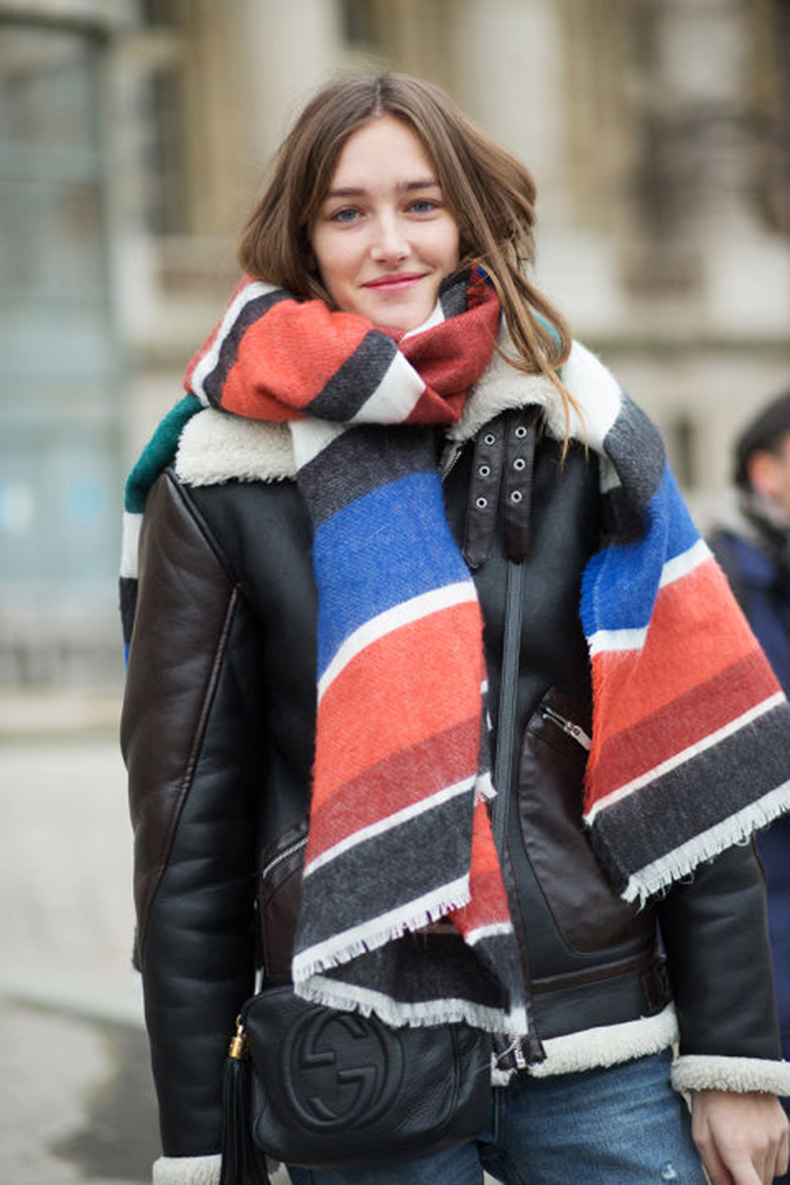 shearling-leather-bomber-jacket-winter-coat-striped-scarf-via-harpersbazaar