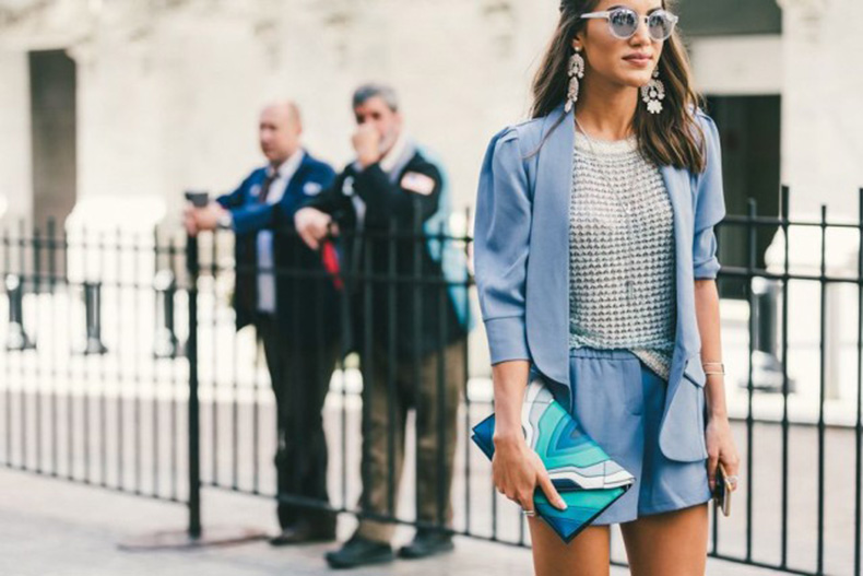 shorts-suit-icy-blue-sky-blue-grey-blue-textured-top-etallics-statement-earrings-mirror-sunglasses-clutch-nyfw-fall-outfits-via-racked-640x427