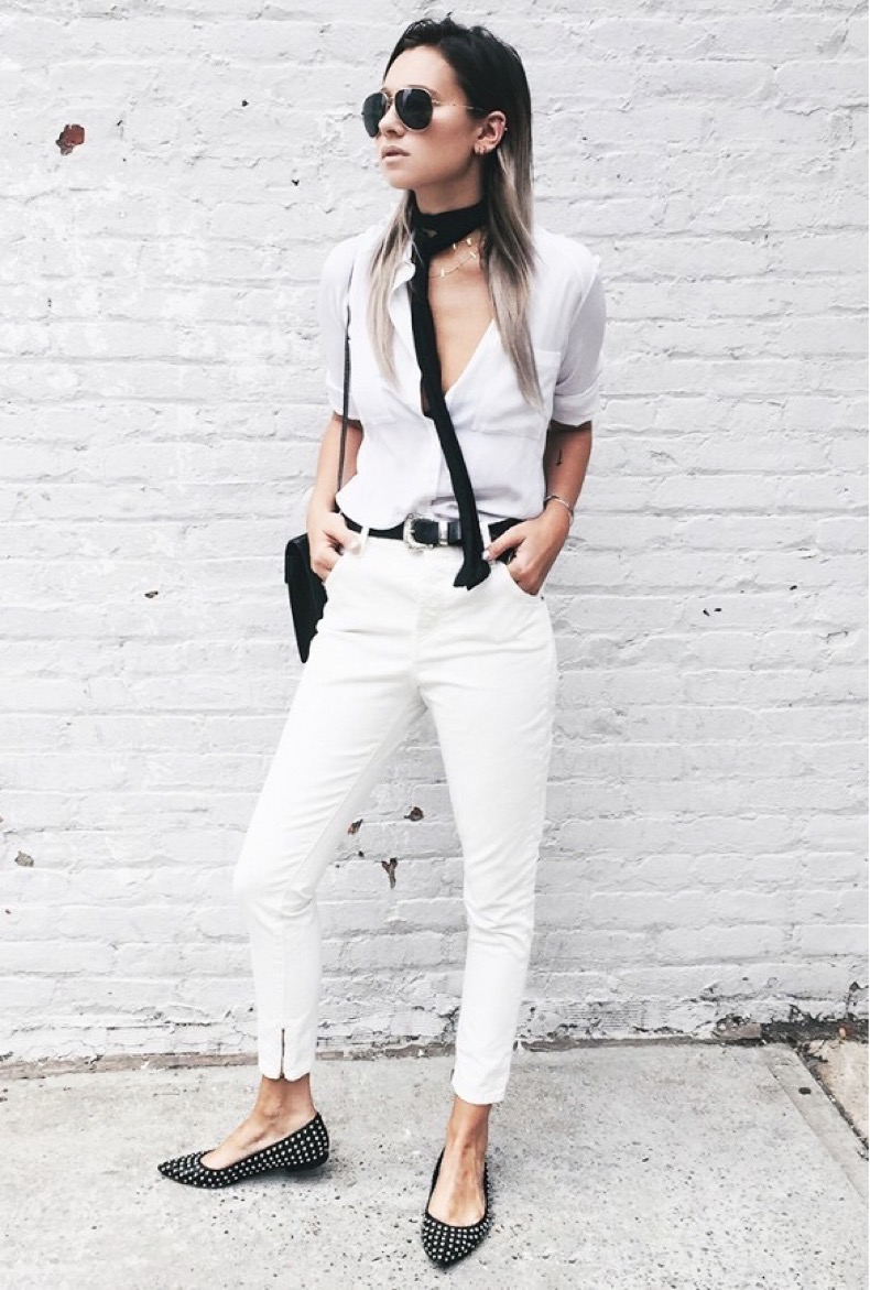 skinny-scarf-black-and-white-white-jeans-studded-flats-black-and-white-skinny-scarf-we-wore-what