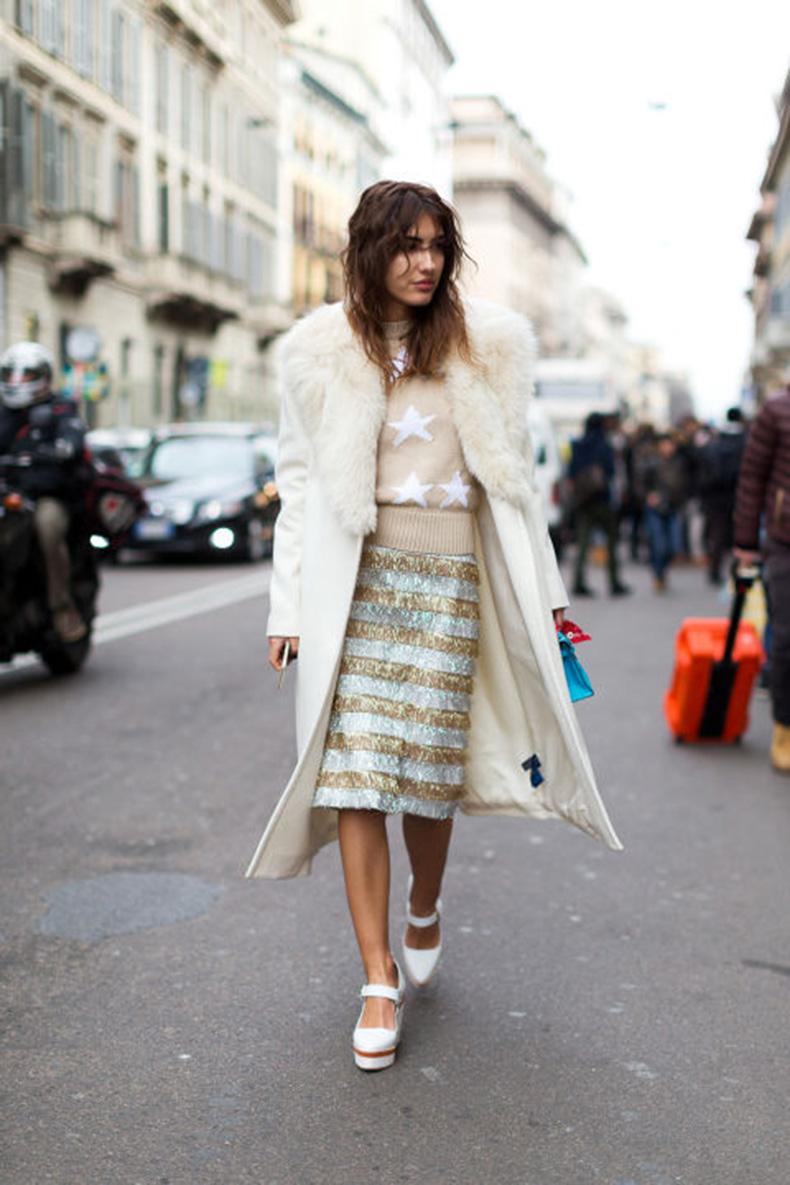 star-print-daytime-sequins-white-fur-coat-milan-fashion-week-hbz