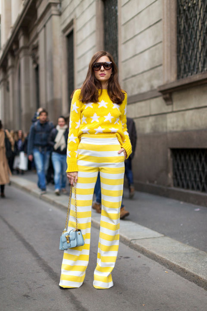 star-print-yellow-striped-pants-printed-pants-milan-fashion-week-hbz