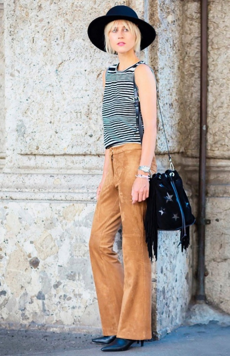 suede-flare-pants-street-style-striped-top-hat