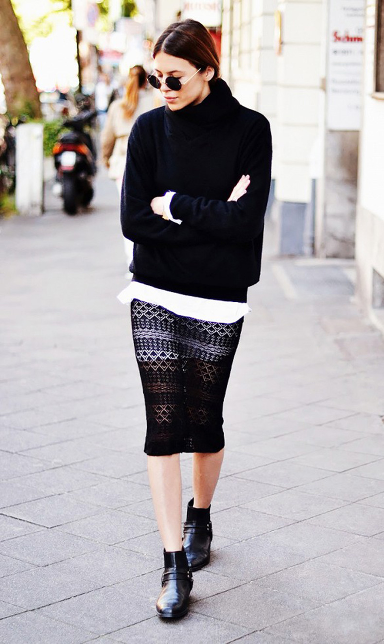 sweaters-and-skirts-black-crochet-lace-pencil-skirt-sweater-over-collared-shirt-white-oxford-turtleneck-sweater-sheer-chelsea-boots-black-and-white-skirts-and-booties-via-maja-wyh