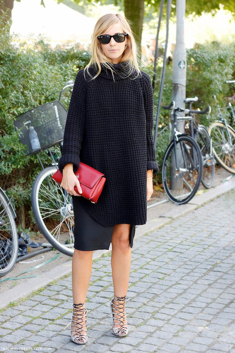 sweaters-and-skirts-red-clutch-strappy-sandals-oversized-sweater-turtleneck-sweaters-via-stylecaster