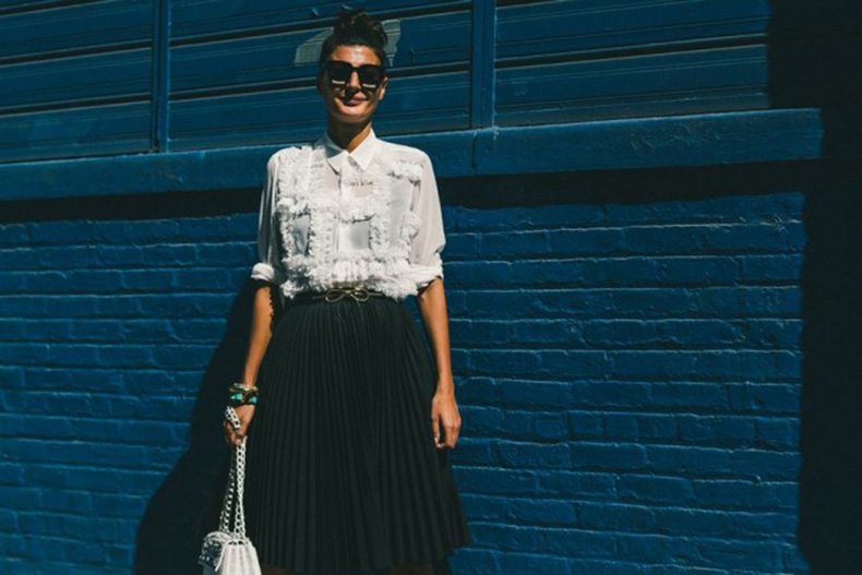 textured-top-black-and-white-pleated-black-skirts-collared-shirt-fall-work-outfit-nyfw-fall-outfits-via-racked-640x427