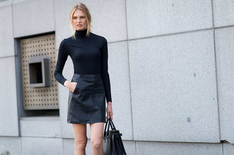 turtleneck-black-leather-mini-skirt-milan-fashion-week-elle