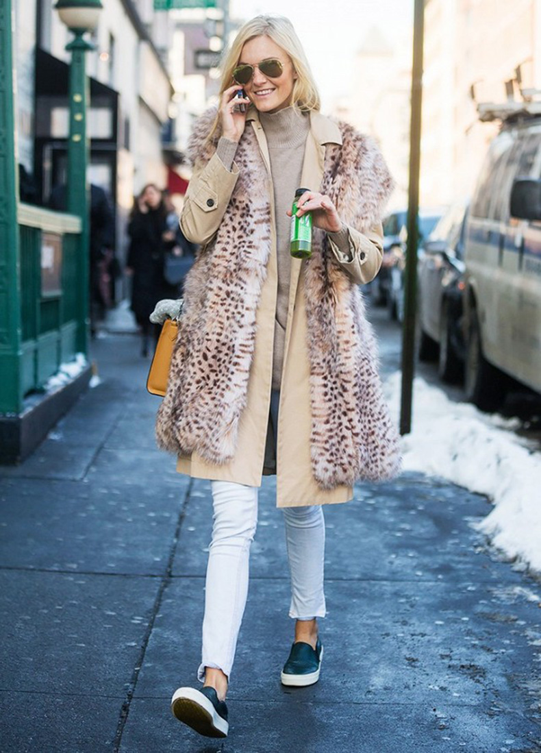 turtleneck-fur-vest-jacket-ankel-jeans-slip-on-sneakers-weekend-winter-outfit-via-getty