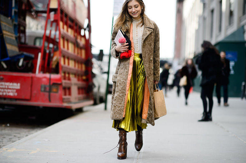 victorian-blouse-coat-lace-up-booties-metallic-skirt-gold-pleated-skirt-midi-skirt-nyfw-street-style-elle